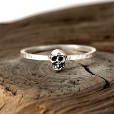 Skull ring. Tiny sterling silver ring stacking ring by Jevellyn