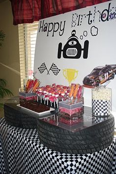 "race car party buffet---if Alyssa continues with her adoration of ""Lightening McQuenn,"" (or Vroom Vroom, as she calls him) this will have to be our table decoration for her bday party! Race Car Birthday, Race Car Party, Car Themed Parties, Cars Birthday Parties, Garage Party, Transportation Party, Hot Wheels Party, Monster Truck Birthday, Man Party"