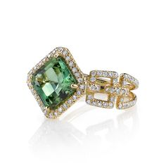 18k gold and diamond green tourmaline Buff ring by Erica Courtney®