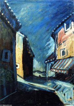 """House with Painted Shade"", Oil On Panel by Auguste Chabaud (1882-1955, France)"
