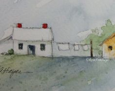 Original Watercolor Painting Laundry Day Country Landscape ACEO 7