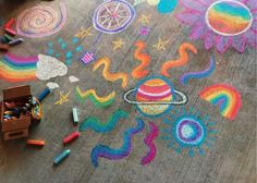 Doodles Chalk Art Chalk Art Chalk Art Room Doodles, We are sharing an Easy Sidewalk Chalk Art project that anyone can do. This Mosaic Sidewalk Chalk A, Doodle Challenge, Space Doodles, Art Sur Toile, Chalk Design, Sidewalk Chalk Art, Pics Art, Art Pictures, Body Painting, Painting Art