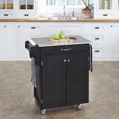 Home Styles Create-A-Cart Cuisine Cart - Black Finish with Salt & Pepper Granite Top