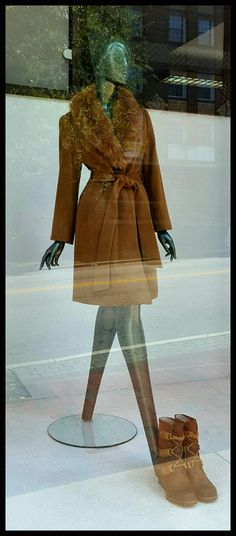 Wedge boots by Sorel; new cashmere coat with fox collar, also available in black