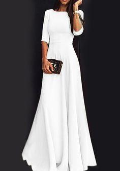 Round Neck Plain Maxi Dress - Round Neck Plain Maxi Dress – Ininruby Source by dorotakrawczynska - Maxi Dress Summer, Modest Maxi Dress, Elegant Maxi Dress, White Maxi Dresses, Modest Wedding Dresses, Maxi Dress With Sleeves, Dress Formal, Maxi Dress Outfits, White Long Sleeve Dress