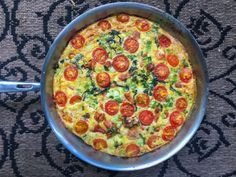 Sam with Eating Clean, Cooking Dirty, made this for me after I had a baby and I've been craving it ever since.  Finally got the recipe!   Hot Wing Chicken Baked Frittata