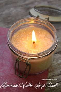 Homemade Vanilla Sugar Candle. This easy to make homemade vanilla sugar candle is really sweet! The sugar makes for a beautiful glistening look. This candle uses a vanilla scent but is can be customized using another scent you might like. Candle making is easier than you think! Get started using this homemade vanilla sugar candle tutorial. #candlemaking #candlemakingtips