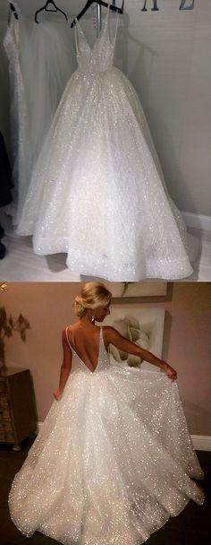 glitter white long prom dress, princess 2018 prom dress, ball gown #Graduationdresses