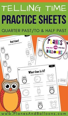 Telling time worksheets for teaching time half past, quarter past and quarter to the hour - free printable pdf for kindergarten and first grade. Telling Time Activities, Kindergarten Math Activities, Teaching Time, Educational Activities, Number Activities, Learning Activities, 1st Grade Worksheets, Free Printable Worksheets, Worksheets For Kids