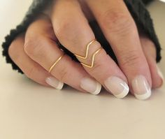 Above Knuckle Ring Set of 3 Knuckle Rings Midi Stacking Dainty Rings Gold or Silver Tone via Etsy
