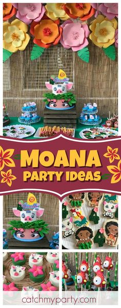 Don't miss this pretty Moana birthday party! The cookies are so cute!! See more party ideas and share yours at CatchMyParty.com
