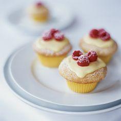 Vanilla Cupcakes with Lemon Cream and Raspberries   Food & Wine
