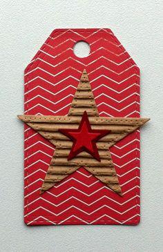 Tag small card - Kid birthday card with star MFT stiched star stack & blueprints stars - til og fra kort - fødselsdag - Carta Bella: Boy oh Boy - paper pad