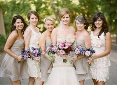 Mismatched bridesmaids Mismatched Bridesmaid Dresses in Neutral Colors photo Fall Wedding Dresses, Colored Wedding Dresses, Wedding Attire, Bride Dresses, Wedding Flowers, Wedding Outfits, Mismatched Bridesmaid Dresses, Wedding Bridesmaids, Beige Bridesmaids