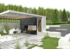 Outdoor Fireplace with Pergola . Outdoor Fireplace with Pergola . Modern Gazebo Plans for Backyard Modern Gazebo, Modern Backyard Design, Backyard Patio Designs, Backyard Ideas, Patio Ideas, Pergola Designs, Landscaping Ideas, Backyard Pavilion, Backyard Gazebo