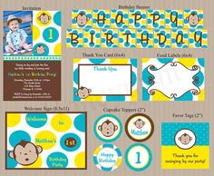 PRINTABLE Mod Monkey Boy Birthday Party Package by Honeyprint, $30.00