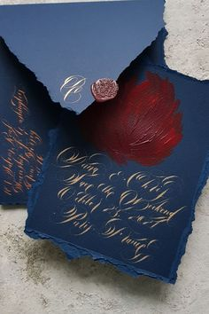 Elegant, old world European, French style, navy blue and gold calligraphy wedding invitations. These beautiful, classical wedding invites are handwritten in pale gold calligraphy. Wedding Invitation Video, Black Wedding Invitations, Watercolor Wedding Invitations, Invites, Calligraphy Wedding Stationery, Gold Calligraphy, French Wedding, Blue Wedding, French Style