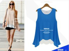 NEW 2014 summer Women Slim Fit Chiffon sleeveless shirt Blouses Shirts Trendy Shirt Color Blue / yellow / beige Free Shipping