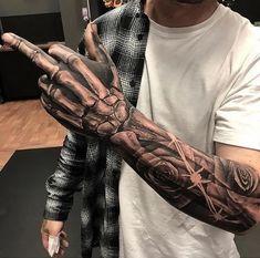 Badass Sleeve Tattoo Ideas For Guys - Best Sleeve Tattoos For Men: Cool Full Sle.Badass Sleeve Tattoo Ideas For Guys - Best Sleeve Tattoos For Men: Cool Full Sleeve Tattoo Ideas and Designs Dope Tattoos, Badass Sleeve Tattoos, Half Sleeve Tattoos For Guys, Hand Tattoos For Guys, Forearm Sleeve Tattoos, Full Sleeve Tattoos, Tattoo Sleeve Designs, Skull Tattoos, Tattoo Designs Men