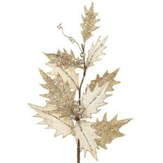 "RAZ Imports - 21"" Cream Colored Velvet Holly Spray"