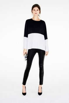 Colorblock with white: good way to break up the black.