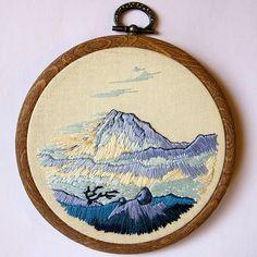 Mountains. Long stitches