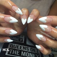 For those who like delicate nail design, Stiletto Nails are becoming a trend! More and more women choose this Stiletto Nail Designs! As far as nail art is concerned, stiletto style nails is a… White Stiletto Nails, Pink Nails, Red Tip Nails, White Tip Nails, Stelleto Nails, Red And White Nails, Pointed Nails, Colour Tip Nails, Black Nails