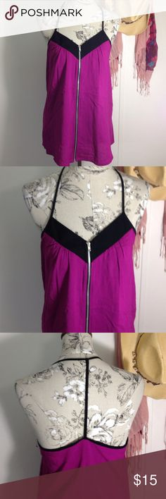 L8ter Purple/Black T Back Top M Excellent condition. Zips front center all the way to bottom. T back top strap. L8ter Tops