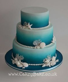 Beach wedding cakes to get inspired. i love this cake! i'd have mini cupcakes all around it as well and mini versions of ourselves as cake toppers. Pretty Cakes, Cute Cakes, Beautiful Cakes, Amazing Cakes, Airbrush Cake, Sea Cakes, Fancy Cakes, Creative Cakes, Cakes And More