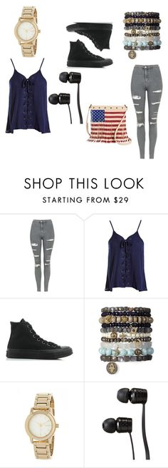 """""""Untitled #66"""" by jaydababez ❤ liked on Polyvore featuring Topshop, Sans Souci, Converse, DKNY, Vans and TWIG & ARROW"""