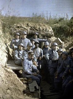 French troops pose for the camera amidst the Battle of Verdun, during the First World War.