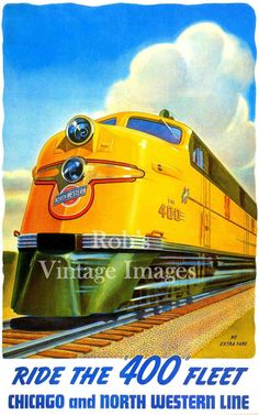 "Chicago Northwestern ""400"" CNW train Art  Poster Railroad 1940-50s Art  Deco Poster 8 x 11.5"""