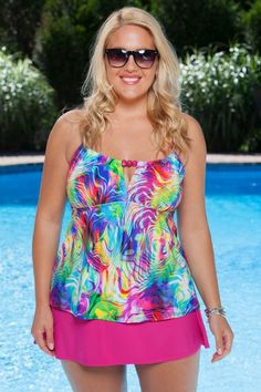 Enjoy the sunshine in this fabulous plus size tankini with swim skirt. Colorful print tankini swimsuit, featuring bold technicolor print and sleek adjustable straps perfectly compliments with this swim skirt!