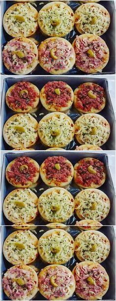 Mini Pizzas, Vegetarian Pizza, Veggie Pizza, Healthy Pizza, Pizza Bites, Receita Mini Pizza, Pizza Vegetariana, Mini Pizza Recipes, Pizza Restaurant