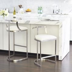 Emerson Stool Collection Silver Stools For Kitchen Island Seating