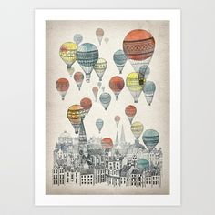 would love this in a nursery.  Voyages over Edinburgh Art Print by David Fleck - $18.00