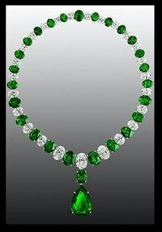 Graff Emerald and Diamond Necklace | You can see the rest of the outfit and descriptions on this board. - Gabrielle