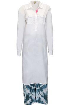 White collared tunic with Indigo tie-dye palazzo pants by Dilnaz Karbhary. Shop now: http://www.perniaspopupshop.com/designers/dilnaz-karbhary #palazzo #dilnazkarbhary #shopnow #perniaspopupshop