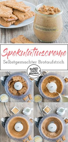 Delicious cookies to spoon? With this homemade speculoos cream you can spread the spicy Christmas cookies directly on the bread. Or let the speculoos cream melt on your tongue. Because the speculoos s Tart Recipes, Baking Recipes, Cookie Recipes, Snack Recipes, Snacks, Creme Speculoos, Biscuits, Yummy Cookies, Christmas Baking