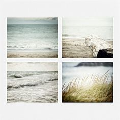 Beach Decor Print Set of 4 8x10 Fine Art Beach Photographs, Pastel Blue, Beige, Grey, Ocean Art Set, Nautical Prints, Sea Landscapes.
