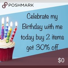 30% off when you buy 2 or more Celebrating my Birthday today by offering a 30% discount when you buy 2 or more items.   Additional discounts will not apply offers on bundles will not be accepted. Other