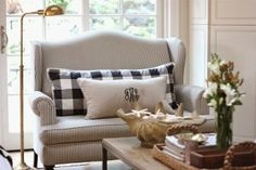Steward of Design: Ticking Stripe Bench & Buffalo Check Pillow - Black