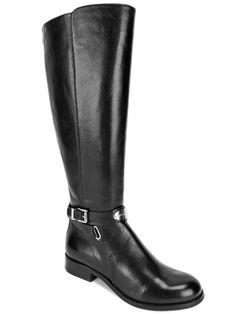 Michael Kors Women's Arley Riding Boots Black Leather Wide Calf Size 5.5 M #MichaelKors #RidingEquestrian #RidingDress