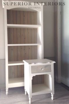 Kelowna custom built solid wood furniture- stained with Superior Paint Co. Grey Side Table, Side Tables, Solid Wood Furniture, Painting Cabinets, Bookcase, Ivory, Shelves, Interiors, Building