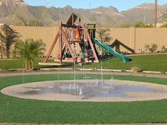 A Splash pad in your backyard! Much less water and safer than a pool.