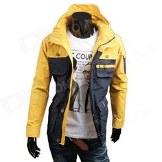 WS715 Mens Autumn / Winter Wear Multi-pocket Polyester Slim Jacket - Deep Blue + Yellow (L)