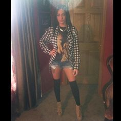 Tupac tank, denim shorts, & thigh high socks...paired with my boyfriend's flannel & cute boots! Perfect for fall :)
