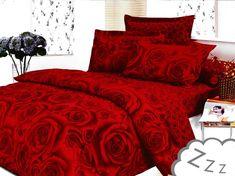 Valentínske posteľné obliečky červenej farby s motívom ruží