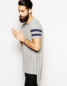 ASOS+Super+Longline+T-Shirt+With+Baseball+Stripes+And+Twisted+Yarn+Skater+Fit