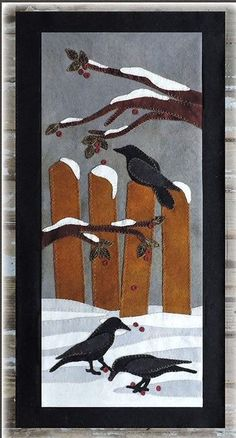 "Snow Crows Wool Applique Wall Hanging Kit - ""The Quilted Crow Quilt Shop, folk art quilt fabric, quilt patterns, quilt kits, quilt blocks Penny Rug Patterns, Wool Applique Patterns, Felt Applique, Applique Quilts, Quilt Patterns, Applique Ideas, Applique Wall Hanging, Quilted Wall Hangings, Crane Design"